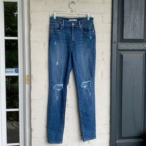 Levi's 721 high rise skinny destroyed jeans sz 28